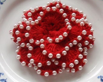 Crochet Flower With Pearls in 3 inches YH-009-02