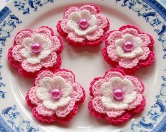 5 Crochet Flowers In Off White, Pink, Dark Pink  YH-031-01