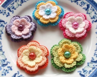 5 Crochet Flowers In  Multicolor Y H-031-02