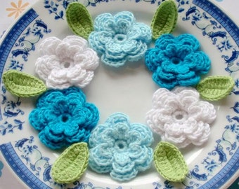 6 Crochet Flowers With Leaves In White, Lt Blue, Turquoise  YH-014-04