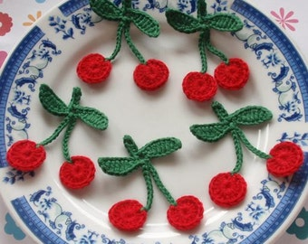 5 Crochet  Cherries In Red, Green YH - 041