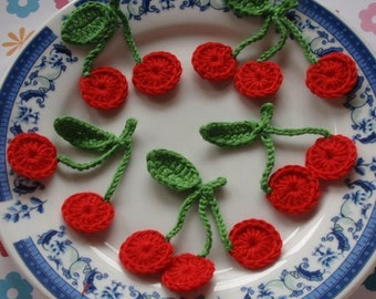 5 Crochet  Cherries In Red, Green YH - 041-02