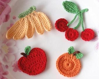 4 Crochet Fruits in Apples,  Banada, Cherry, Orange YH - 087-01
