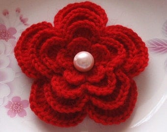 Larger Crochet Flower With Pearls in 4 inches YH-101-04