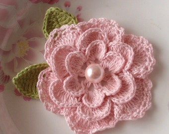 Crochet Flower With Leaves In 3 -1/4 inches YH-099-06