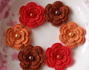 6 Crochet Flowers With Brown Red, Orange YH-011-026