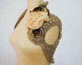 Sale, Wedding Bridal Beige Knit Lace Shrug, Chiffon Taffeta Flowers, Size S