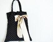 Bridesmaid Totes Gifts Polka Dot Bags with Satin Bow