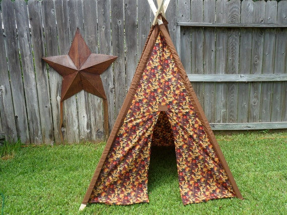 Autumn Arrives Kids Tent, Childrens Teepee, Teepee, Play Tent, Indoor Tent, Kids Tent Fall Leaves Print