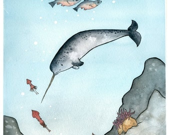 Narwhal Nursery Art Print - Giclee -Narwhal Swimming in the Deep Sea - Childrens Book Watercolor Illustration