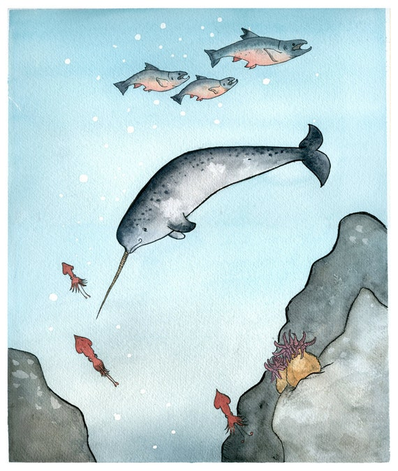Narwhal Nursery Art Print Giclee Narwhal Swimming In The