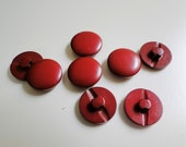 Set of 8 blood red 1960s buttons