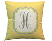 """Throw Pillow Cover - Initial Personalized - 14"""" zipper enclosed - Coordinates with Lime Butter Bedding sets and decor"""