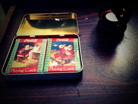 Coca-Cola Vintage Holiday Collector's Tin with Santa Clause - Coke Cards included