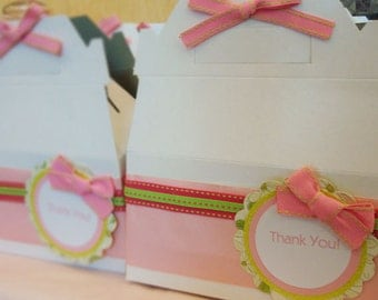 Handmade Pink & Green Thank You Dessert Box or Goodie Box for Birthday's or any Occassion