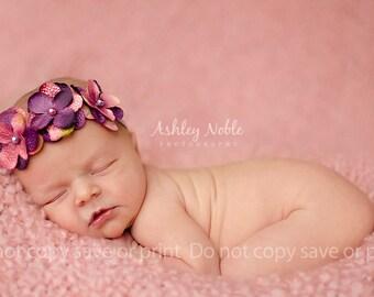 Baby Girl Headband Purple and pink triple flower headband