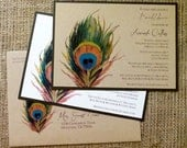 CUSTOM LISTING for NATALIE - Peacock Feather Invitation - Recycled