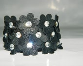 Black, Flower Leather Bracelet, Leather Cuff, Woman bracelet, summer fashion leather cuff...