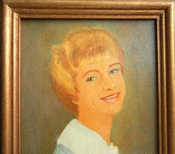 "Vintage 1960's Mid Century Painting of a Woman ""Sally in 1962"" in Mexican Wooden Frame"