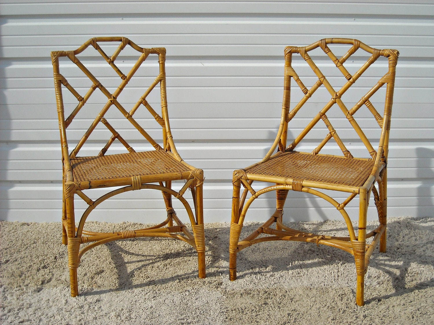 Vintage Chippendale Bamboo Rattan Chairs By Silverbranchhome