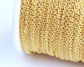 Gold Chain, Cable Chain, 2 mm x 1.5 mm links - 16 feet (G215-001)