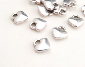 Silver Heart Charms, Puff Heart Charm, 8 mm x 7 mm - 20 pieces (176S)