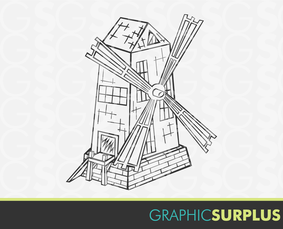 Line Drawing Windmill : Items similar to instant download clip art windmill line