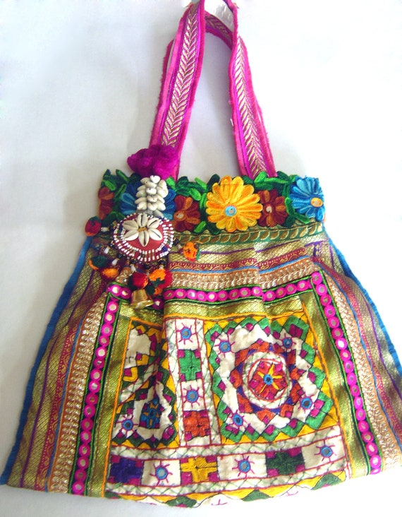 Kutch styled ethnic tote bag lace mirror hand embroidery