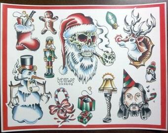 Christmas: Traditional Tattoo Flash Sheet