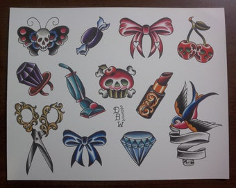 One for the ladies: Traditional Tattoo Flash Sheet