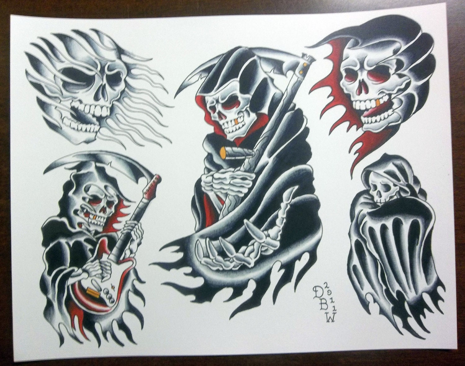 grim reapers traditional tattoo flash sheet. Black Bedroom Furniture Sets. Home Design Ideas