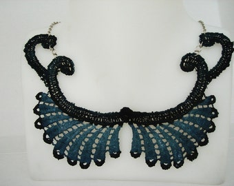 Hand Dyed Dark Blue Wings Lace Necklace
