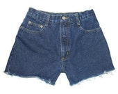 High Waisted Shorts Denim Jean Shorts Cut Offs Cuffed Frayed Custom Size Made To Order