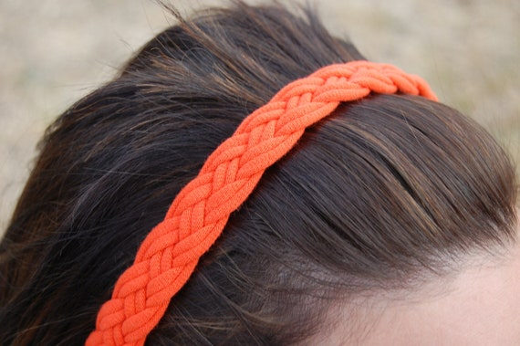 Orange Four-Strand Braided Hairband