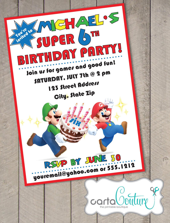 Super mario bros diy printable birthday invitation by cartacouture for Diy birthday invitations free