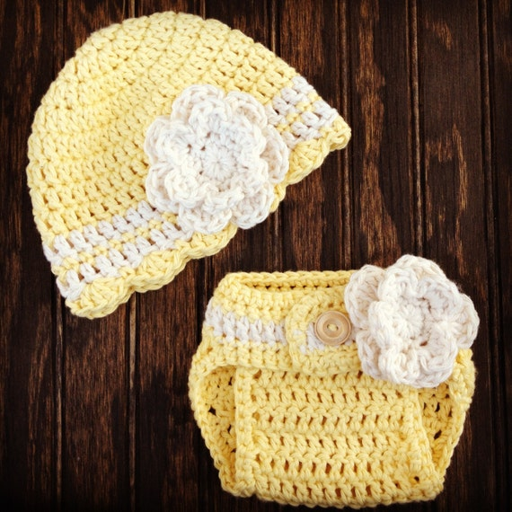 Crochet Newborn Diaper Cover : Crochet Baby Hat and Diaper Cover Set, Newborn Crochet Hats, Baby Girl ...