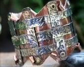 Womens Cuff  Bracelet Copper  Renaissance Medieval Woven Nickel Silver Hammered