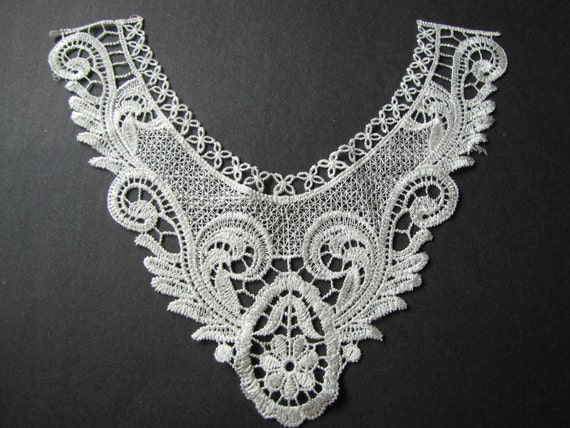 Floral lace yoke applique, dress, costume decor, venice lace, crochet applique, bridal lace embellishment-  LARGE WHITE