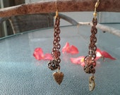 Dangle Earrings with Brown Chain and Brown Swirl Ball Beads, Brown Leaf Dangle beads, and 2 Brown beads