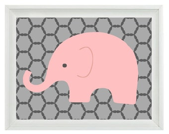 Elephant Nursery Wall Art Print - Pink Gray Decor - Children Kid Baby Girl Room - Wall Art Home Decor  Print