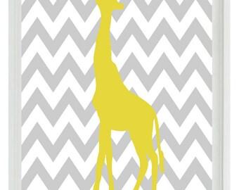 Giraffe Chevron Nursery Wall Art Print - Gray Yellow  Decor - Children Kid Baby - Wall Art Home Decor