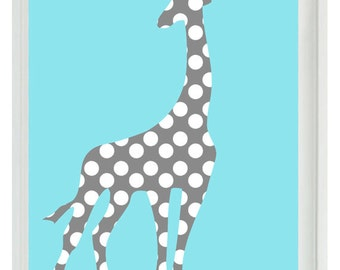 Giraffe Wall Art Print - Nursery Children Kid Baby Room Aqua Gray Polka Dots Custom Home Decor  print