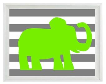 Elephant  Wall Art Print  - Nursery Children Kid Room Lime Green Gray Stripes Home Decor