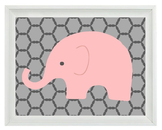 Elephant Nursery Wall Art Print Pink Gray Decor Children