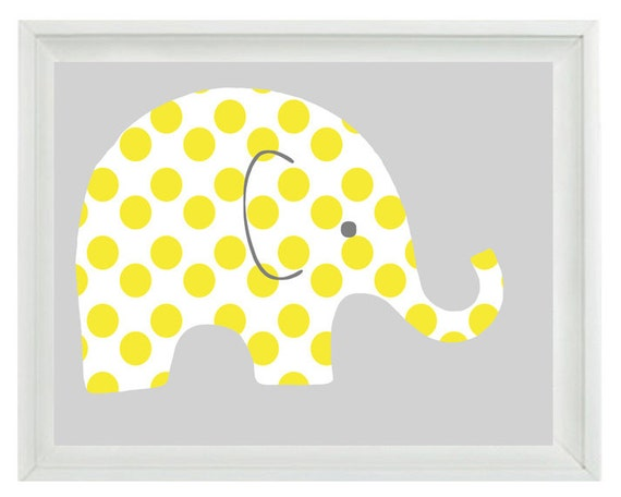 Elephant nursery wall art print yellow gray decor polka dots for Dots design apartment 8