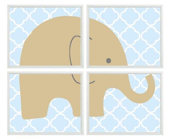 Elephant Nursery Wall Art Print Tan Light Blue Decor
