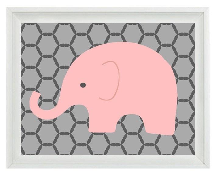 Elephant Nursery Wall Art Print Pink Gray Decor Children