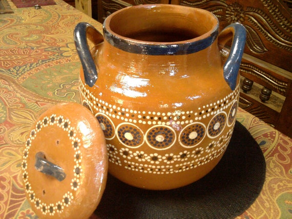 Cazuela - Bean Pot - Redware - Vintage Mexican - Hand Thrown and Painted