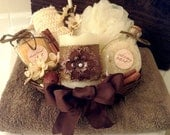 Beautiful Spa Gift Basket with Handmade Bath Salts, Decorative Flameless Candle, and More
