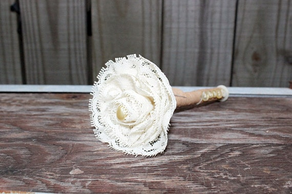 wedding sharpie pen for your guest book . vintage cream lace flower and leather wrapped . shabby chic